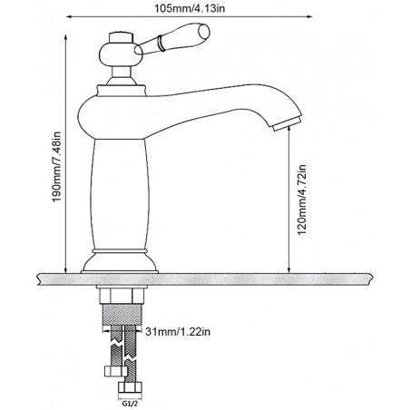 washing machine tap with ceramic headwork and minimal handle 1/2 X 3/4