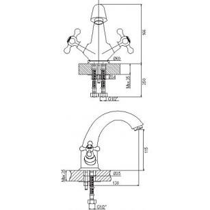 heavy brass faucet, 1/2 x 3/4 x F1 / 2