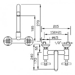 Aerator from complete stick recessed, 24 X 1